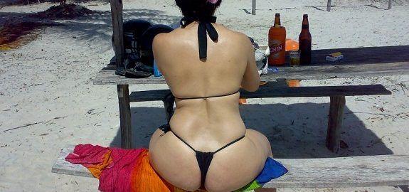 Minha esposa quando vai a praia