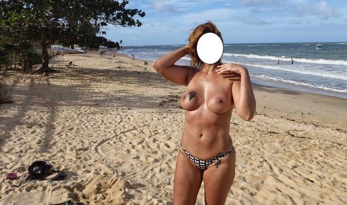 Fotos da esposa pelada na praia de nudismo